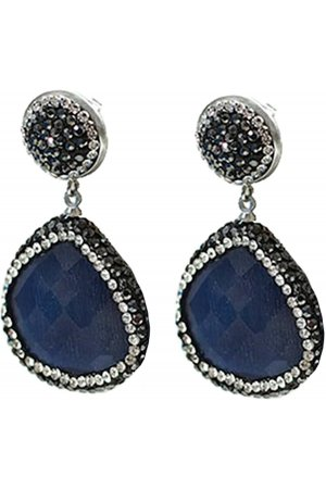 Edelstenen oorbel Bright Dark Blue Cat's Eye