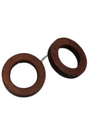 Fashionidea - Earring Wood Round Thin - Real Wood