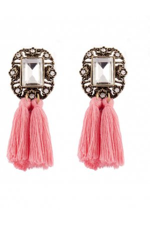 Statement tassel earrings pink
