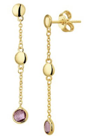 The Fashion Jewelry Collection Oorhangers Amethyst - Geelgoud