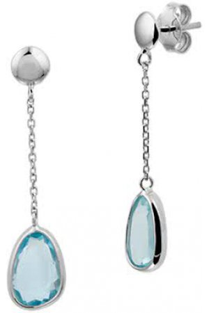 The Fashion Jewelry Collection Oorhangers Blauw Topaas - Witgoud