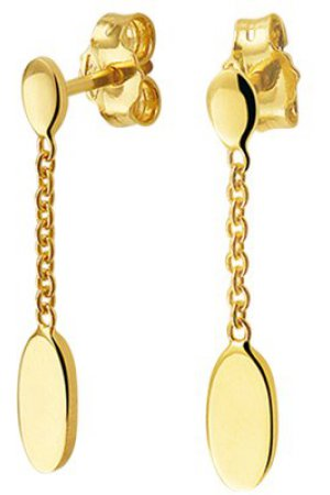 The Fashion Jewelry Collection Oorhangers Ovaal - Geelgoud