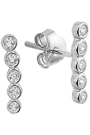 The Fashion Jewelry Collection Oorknoppen Zirkonia - Zilver Gerhodineerd