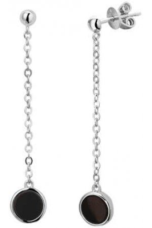 The Jewelry Collection Oorhangers Onyx - Zilver Gerhodineerd
