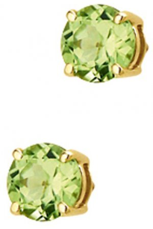 The Jewelry Collection Oorknoppen Peridot - Geelgoud