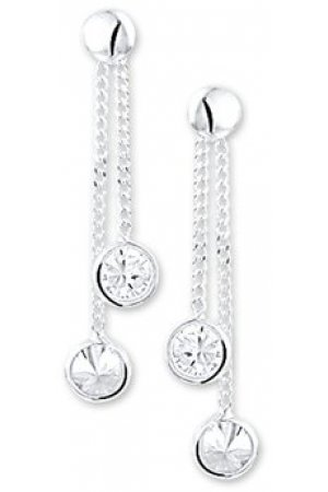 The Kids Jewelry Collection Oorhangers Zirkonia - Zilver