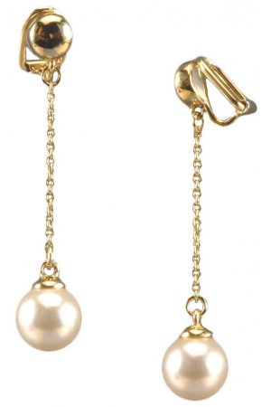 Traveller parel oorclip - hangend - met 10mm Swarovski Crystal parel - 22 ct verguld - #113776