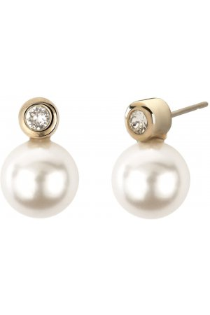 Traveller parel oorsteker - met witte 10mm Swarovski Crystal parel - 22ct verguld - #113040