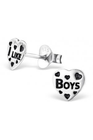 Zilveren I like Boys hart oorbellen|blingdings